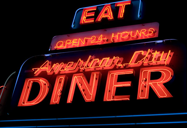 neon signage of American City Diner