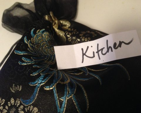 """""""Kitchen"""" written on a slip of paper that was pulled from a bag"""