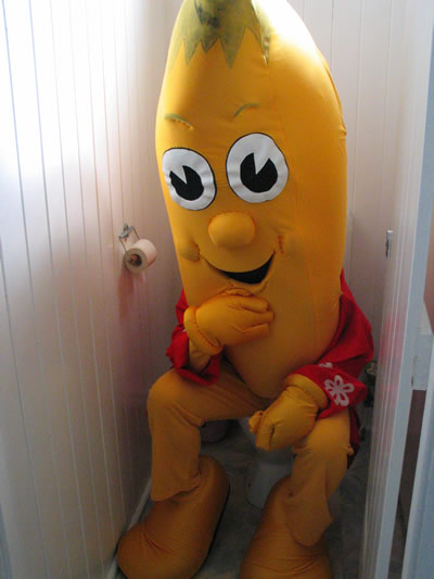 person dressed as banana sitting on the toilet