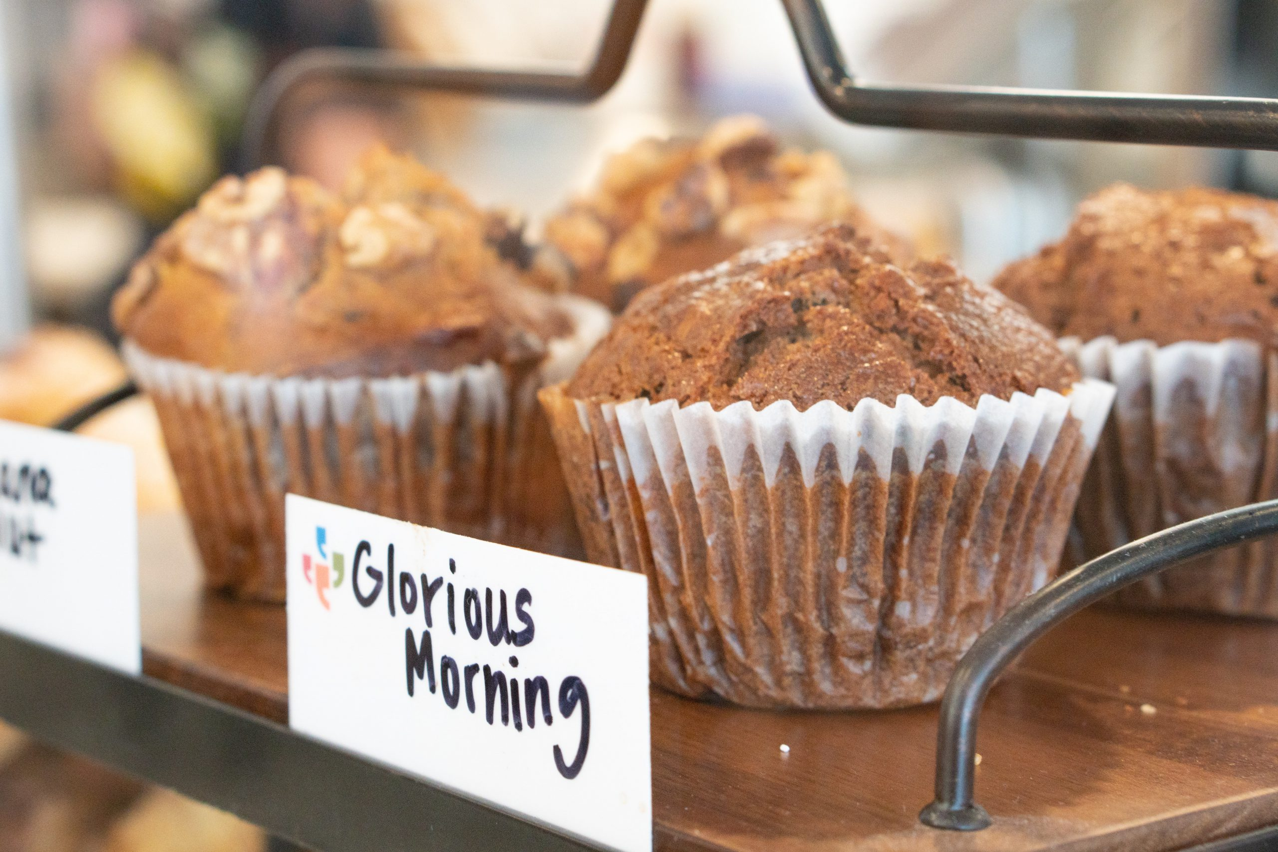 """""""Glorious morning"""" sign with muffins"""