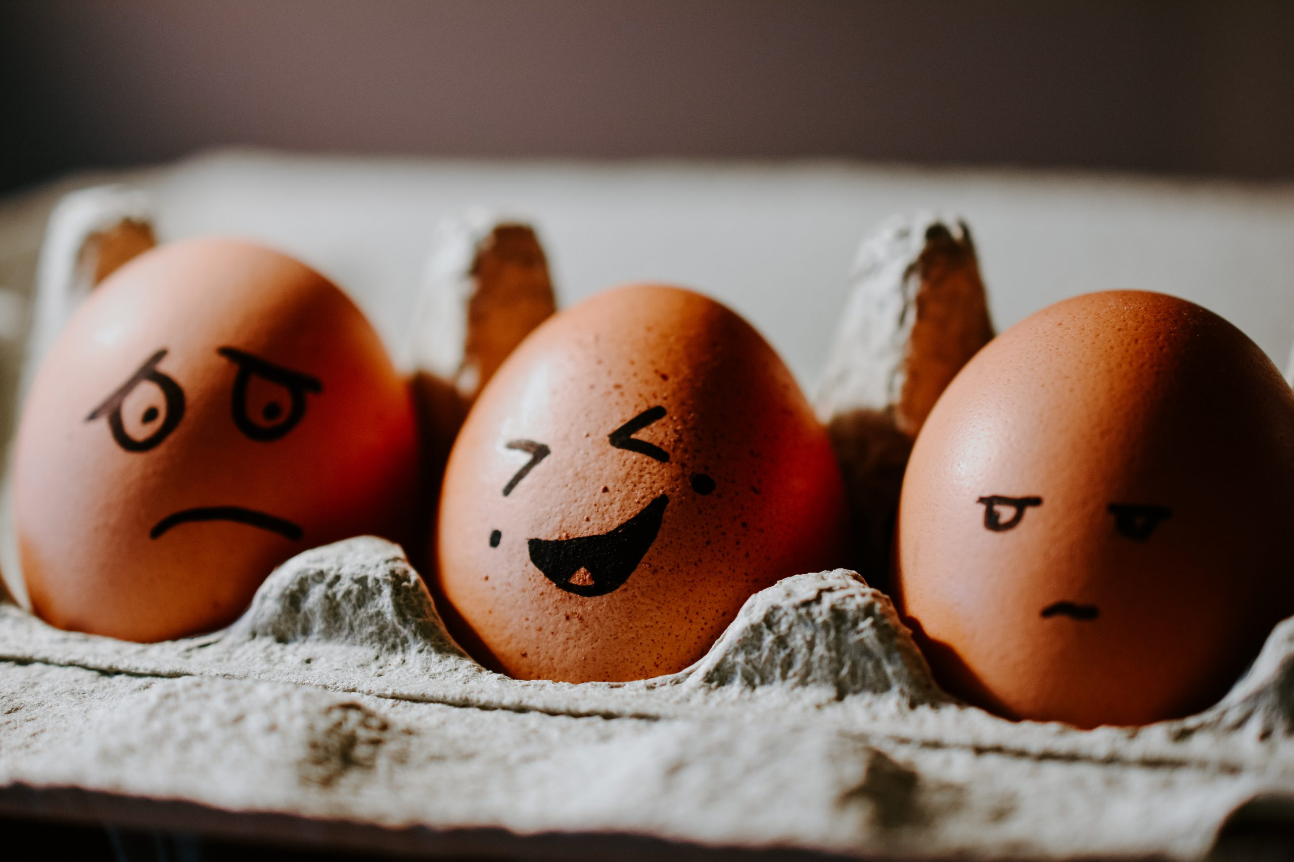 Egg with illustrated laugh