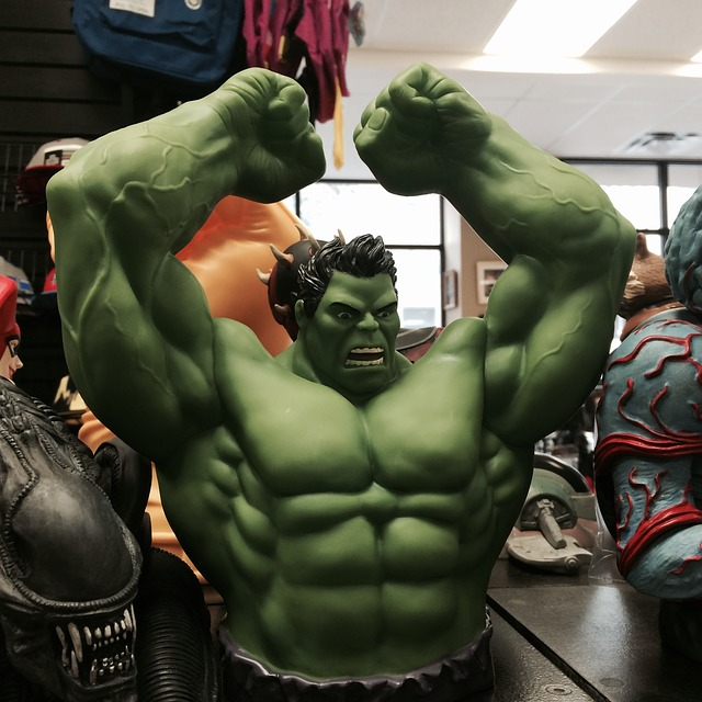 Hulk toy posed in smash position