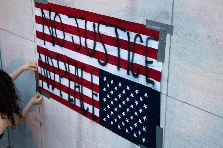 no justice, no peace flag