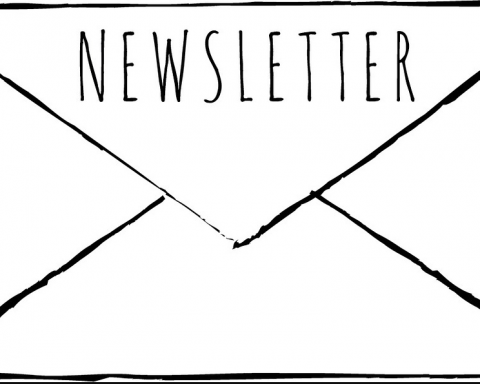 envelope with newsletter written on the flap