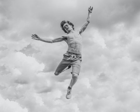 person seemingly falling through the air